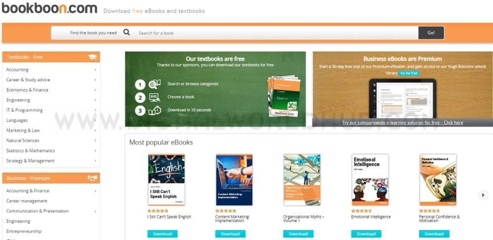 BookBoon ebooks website