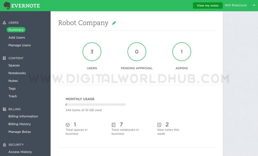 Evernote DWH