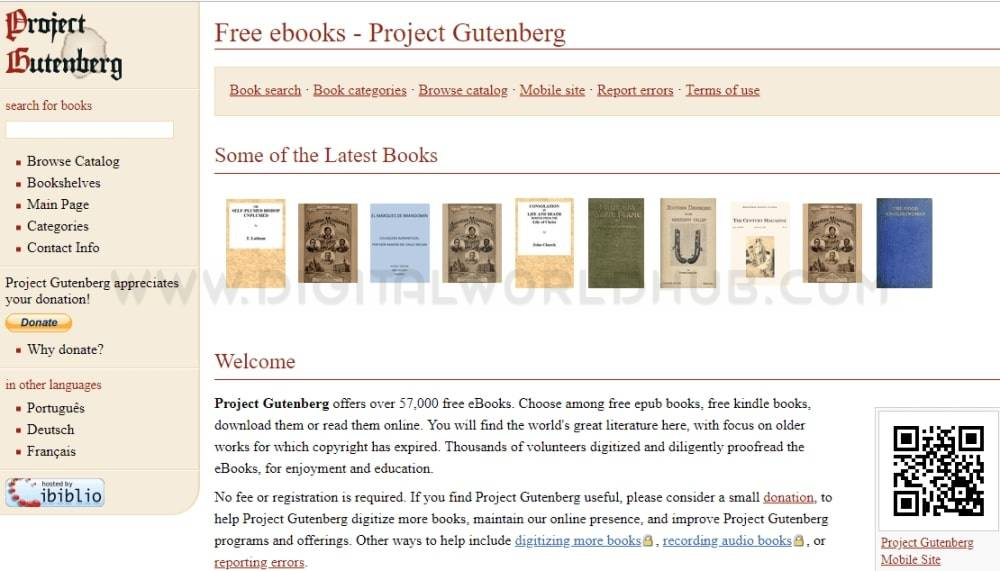 Project Gutenberg ebooks website